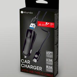 Autonabíjačka 2x USB s káblom Type C STURDO 2A čierna