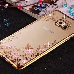 Púzdro FLOWER SAMSUNG Galaxy J6 Plus 2018 zlatý