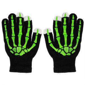 Dotykové rukavice čierne – zelený skelet