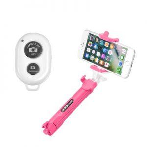 BlueStar Bluetooth selfie tyč so statívom ružová