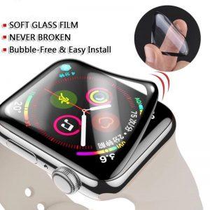 KINGMAS ochranné tvrdené sklo 5D Flexible Apple Watch Series 4/5 – 42mm čierne GA00118E