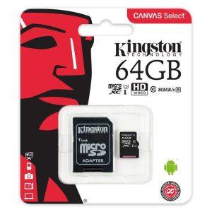 Pamäťová karta Micro SDHC Kingston Canvas 64GB Class 10 + adaptér