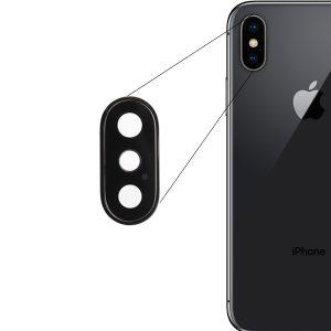 Sklo zadnej kamery s rámom – iPhone X čierne