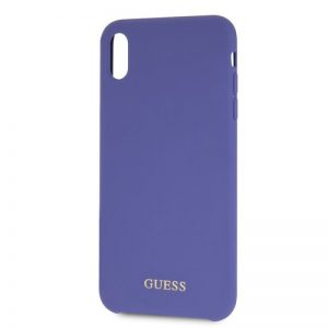 Púzdro Guess Silicone Purple Gold Logo iPhone XR