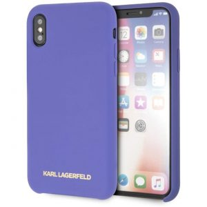 Púzdro Karl Lagerfeld Silicone Violet Gold Logo iPhone X/XS