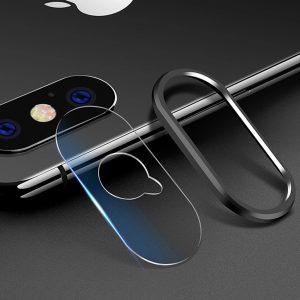 KINGMAS ochranné tvrdené sklo fotoaparátu pre iPhone X s čiernym ochranným rámom GA00039E