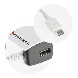 Sieťová nabíjačka Forcell micro USB 2A s káblom a USB portom