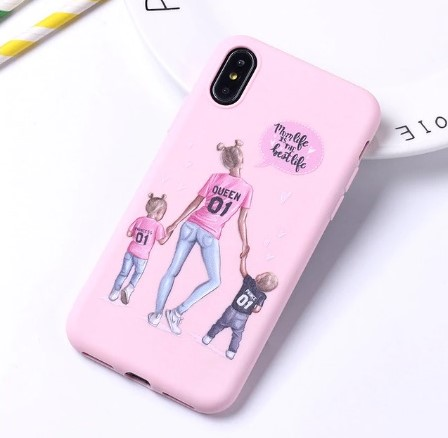 """Fashion púzdro Candy """"Mom life is the best life"""" iPhone XR ružové"""