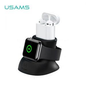 Dokovacia stanica USAMS ZJ051 pre Apple Watch a Apple AirPods sivá