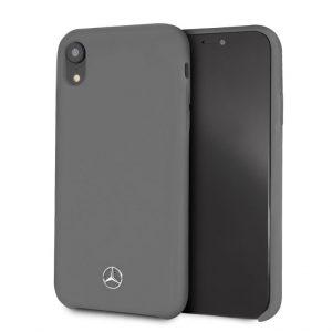 Púzdro Mercedes-Benz MEHCI61SILGR Silicon Fiber Case Lining iPhone XR sivé