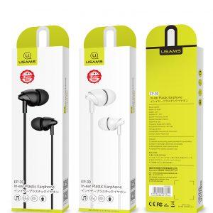 Slúchadlá USAMS EP-39 In-Ear Headset 3,5mm Jack biele