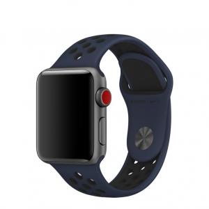 Silikónový remienok Tactical 166 Double Apple Watch 42/44mm modro-čierny