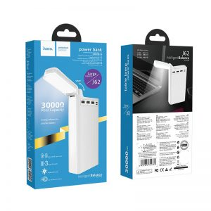 Power Bank Hoco J62 Jove 3x USB 30 000 mAh s LED svetielkom biela